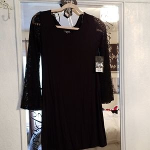 New black dress with bell sleeves.